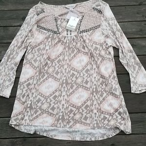 NwT Lucky Brand high low top with 3/4 sleeve